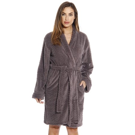 Just Love Chevron Bath Robes for Women - Brown Hooded Robe