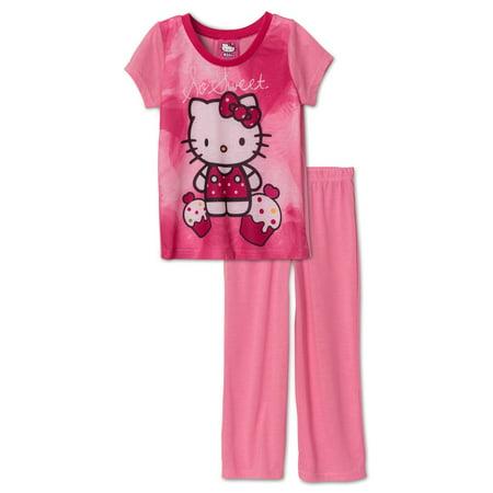 Hello Kitty Pink Flower (Hello Kitty Girls' 2 Piece Pant Set, So Sweet, Size:)