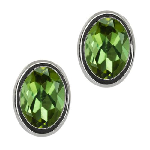 1.70 Ct Oval Green Tourmaline Sterling Silver bezel Stud Earrings 7x5mm