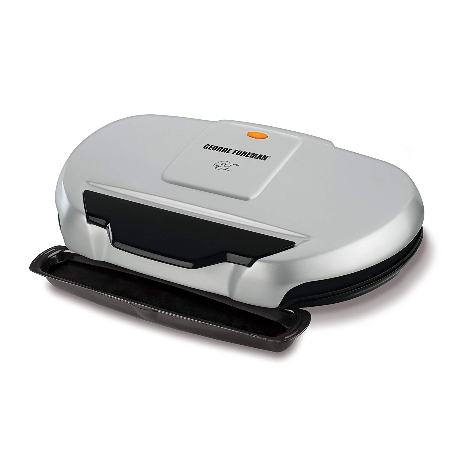 George Foreman 9-Serving Classic Plate Electric Grill and Panini Press. Silver. GR144