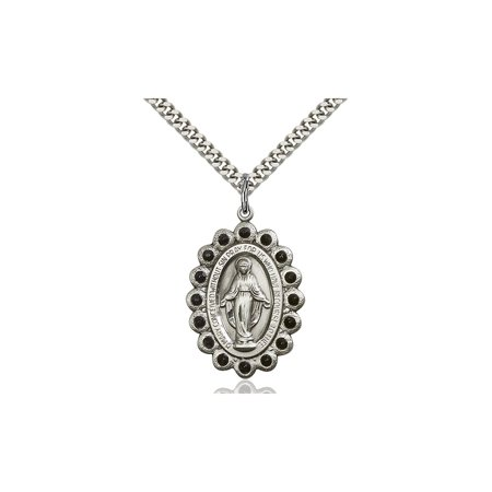 Large Detailed Mens 925 Sterling Silver Miraculous Immaculate Conception Virgin Saint Mary Pendant 1 1 8 X 3 4  On A 24 Stainless Curb Chain Necklace Gift Boxed