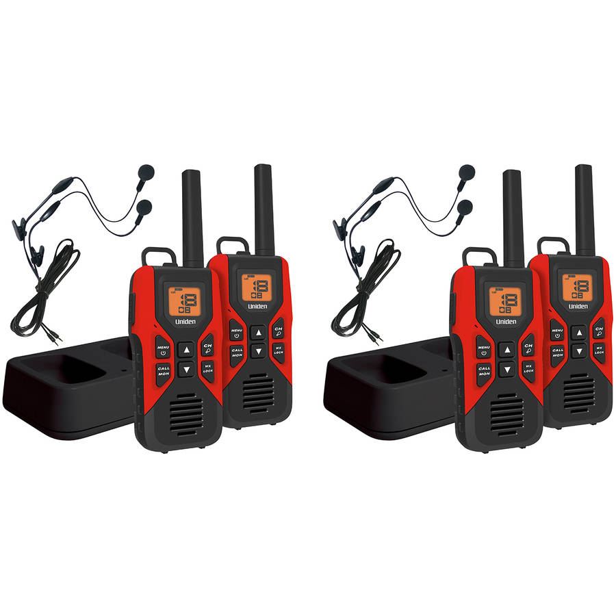 Uniden GMR3055-2CKHS 30-Mile 2-Way FRS/GMRS Radios with Headsets, 4 Pack