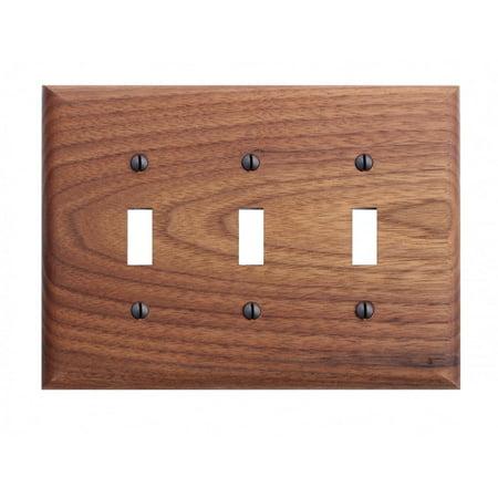 Switchplate Walnut Triple Toggle (Walnut Switchplate)