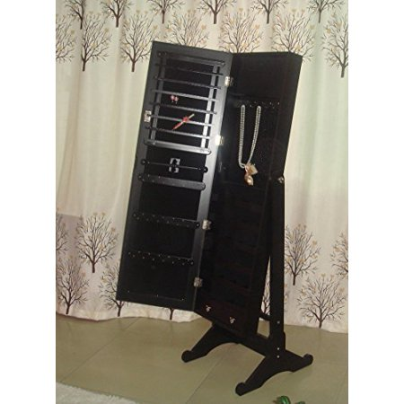 Ashleys Garden Armoire (Mirrored Jewelry Cabinet Armoire W Stand Mirror Rings, Necklaces, Bracelets, Color Black)