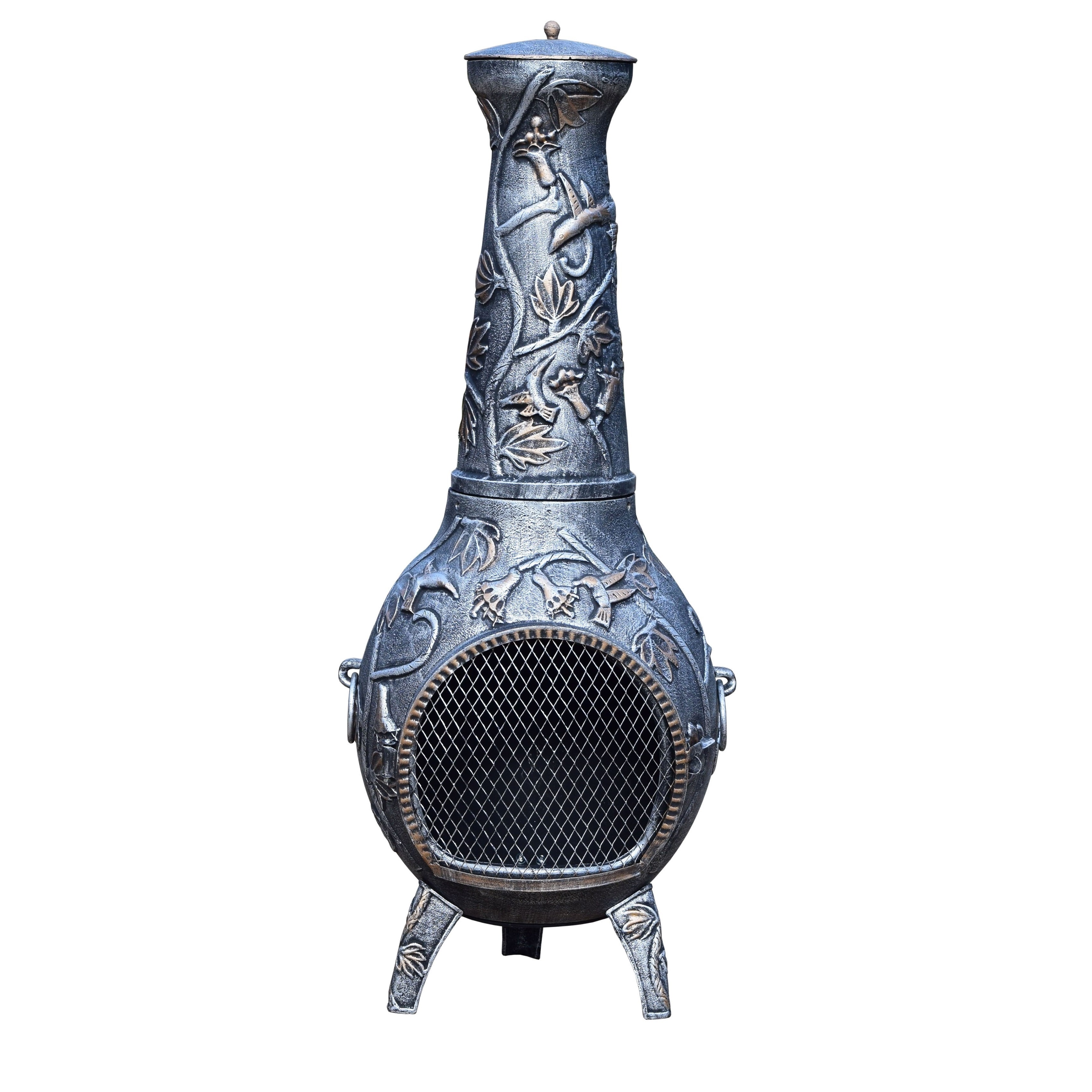 Oakland Living Corporation Silver Wrought Iron Lattice Chiminea With Built-in Handles, Grate, and Spark Guard... by Overstock