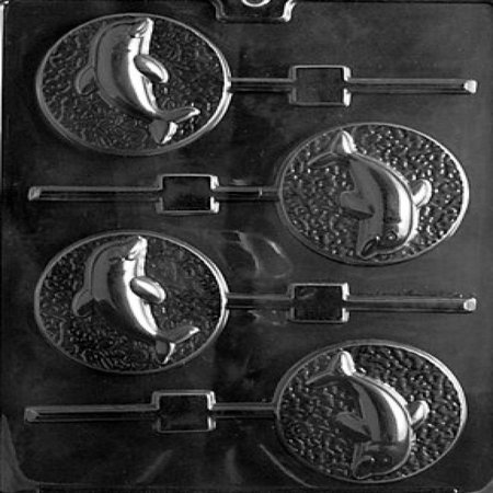Cybrtrayd N035 Dolphin Lolly Chocolate Candy Mold with Exclusive Cybrtrayd Copyrighted Chocolate Molding Instructions