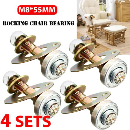4Pcs Rocking Chair Bearing Connecting Piece Rocking Screws Nut Bolt Kits Tool ()