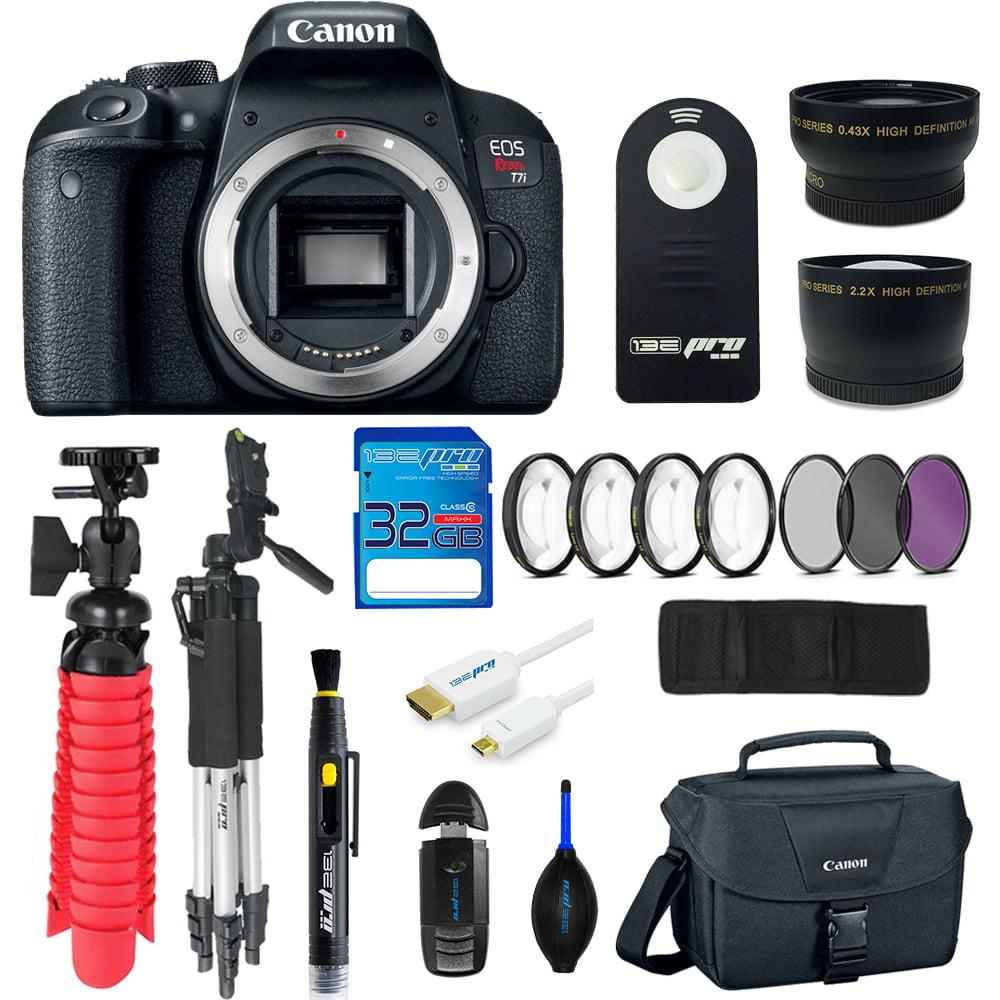Canon EOS Rebel T7i DSLR Camera (Body Only) + SD Card + Tripod + Pixi Advanced Kit