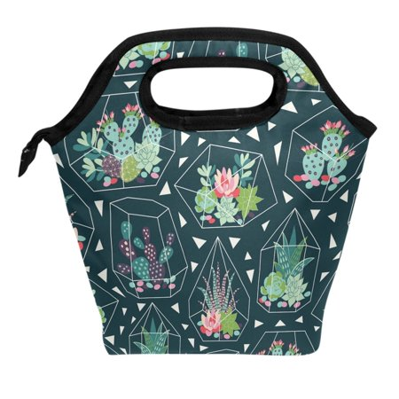 ALAZA Tropical Succulents Cactus Flower Geometric Vase Lunch Box Tote Handbag Lunch Bag Insulated Cooler Lunchbox for Men Women School Teens Office Picnic Multi4
