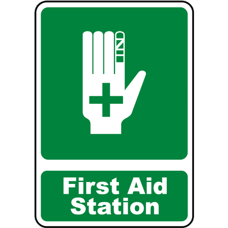 Traffic Signs - First Aid Station Sign 2 10 x 7 Aluminum Sign Street Weather Approved Sign 0.04 Thickness ()