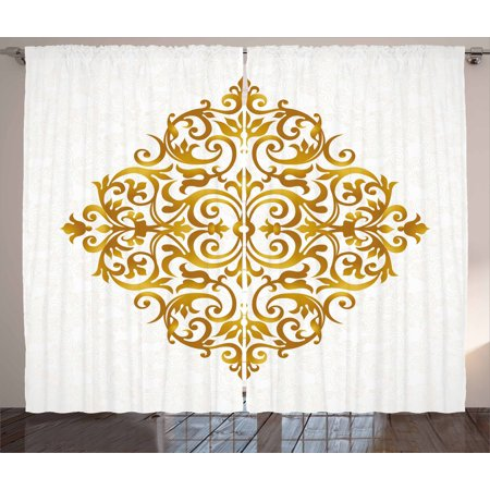 Style Living Room - Gold Mandala Curtains 2 Panels Set, Victorian Style Traditional Filigree Inspired Royal Oriental Classic Print, Window Drapes for Living Room Bedroom, 108W X 96L Inches, Gold White, by Ambesonne