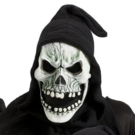 Fun World Halloween Shroud Hood Open Mouth Skull Full Mask, White - Halloween Map Open