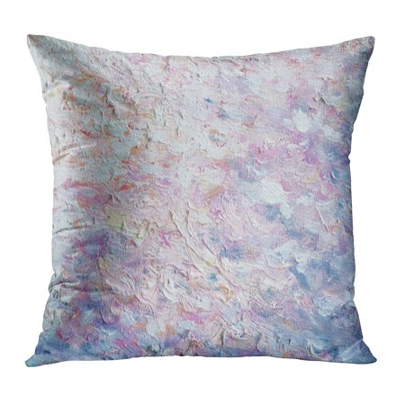 ECCOT Beige Abstract Original Oil Painting on Canvas Pastel Colors Impressionism Modern Blue Artistic Beautiful Pillowcase Pillow Cover Cushion Case 16x16