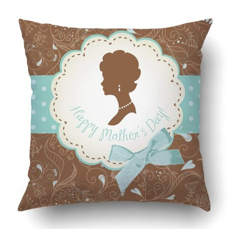 ARTJIA Blue Mother Mother's Day Cute Vintage Frames With Ladies Silhouettes Brown Hair Pillowcase Cover Cushion 18x18 (Vintage Frame Silhouette)