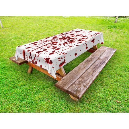 Halloween Themed Movies Not Scary (Horror Outdoor Tablecloth, Splashes of Blood Grunge Style Bloodstain Horror Scary Zombie Halloween Themed Print, Decorative Washable Fabric Picnic Table Cloth, 58 X 84 Inches,Red White, by)