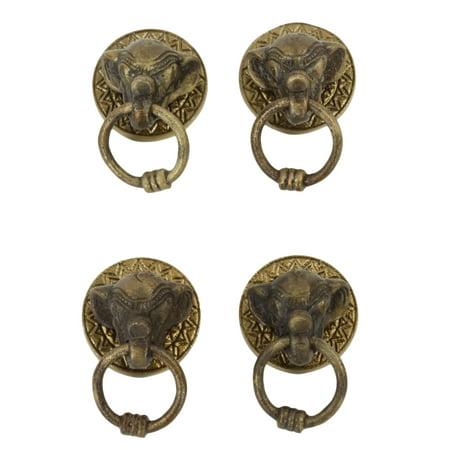 koyal wholesale antique elephant brass color 2 inch 4 pack cabinet pulls knobs decorative. Black Bedroom Furniture Sets. Home Design Ideas