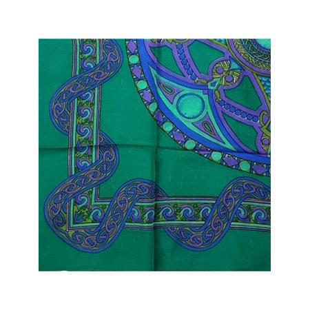 Handmade 100% Silk Celtic Wheel of Life Scarf Bandana Mandala 42x42 Green - Green Bandanna