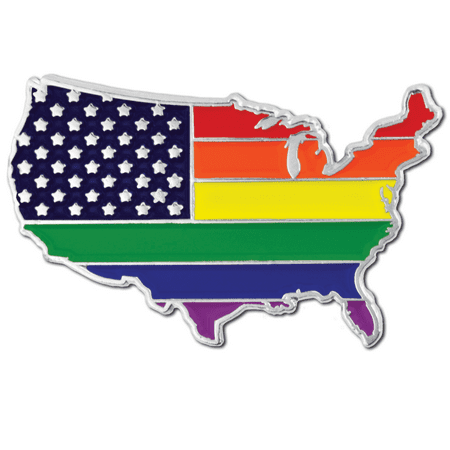 PinMart's Gay Pride USA Shape Flag LGBT Enamel Lapel - Usa Flag Pin