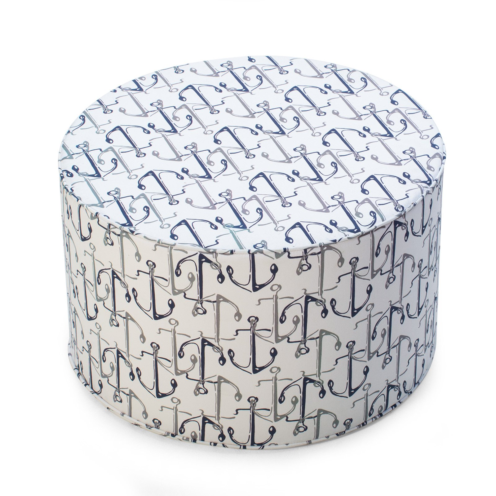 Coral Coast Nautical 25 in. Round Pouf Outdoor Ottoman by