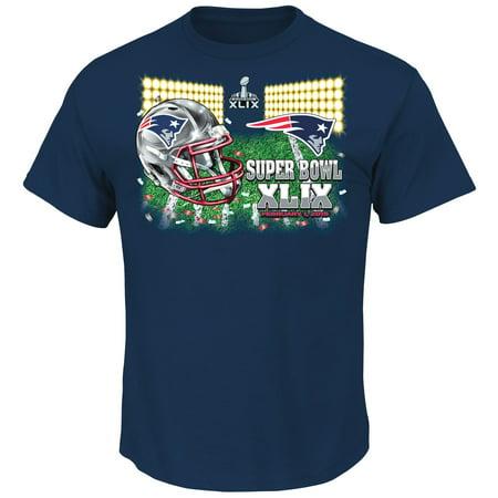 New England Patriots Majestic Nfl Super Bowl Xlix  On Our Way  S S Mens T Shirt