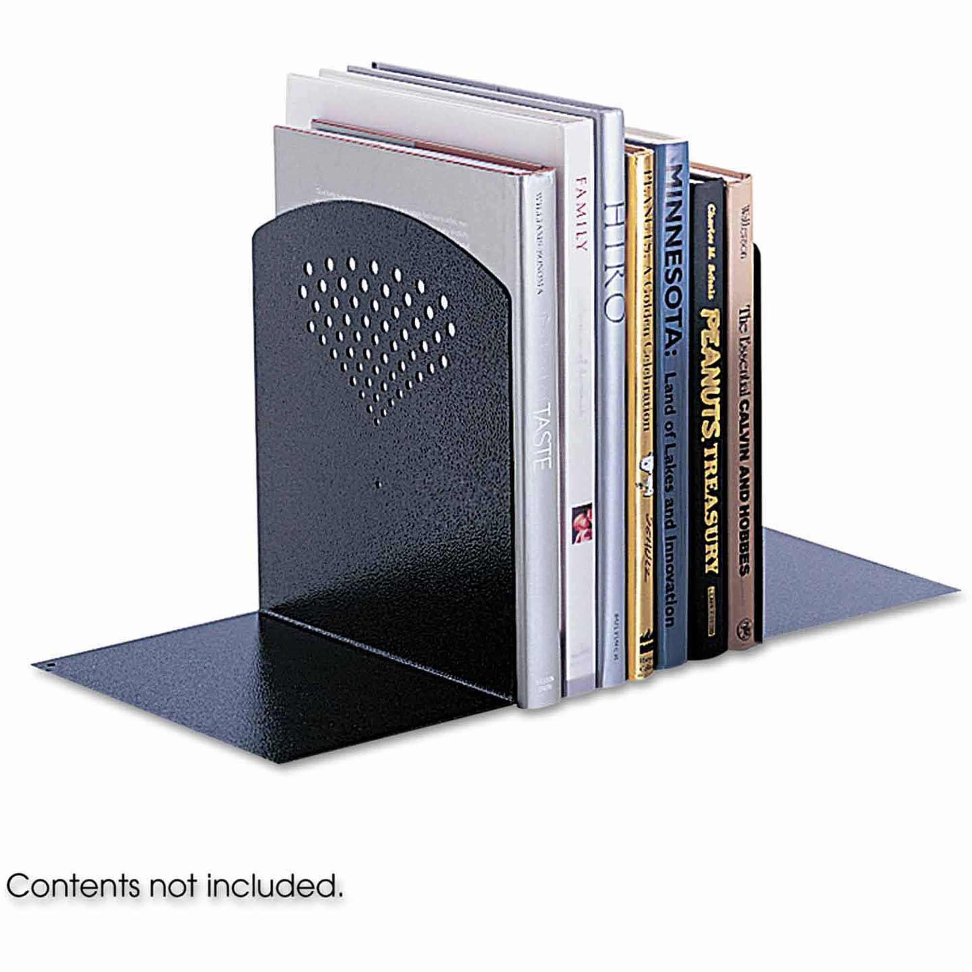 Safco Bookends, Nonskid, 10 x 6 1/2 x 10 1/2, Heavy Gauge Steel, Black