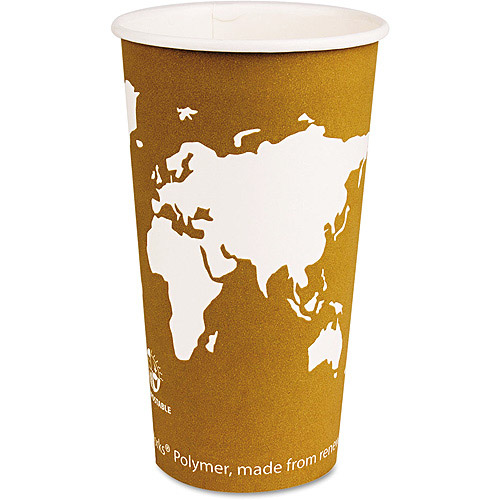Eco-Products Tan World Art Renewable Resource Compostable 20 Ounce Hot Drink Cups, 1000 Cups