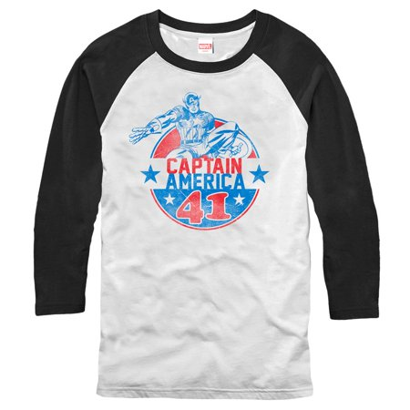 Marvel Men's Captain America '41 Badge Baseball Tee