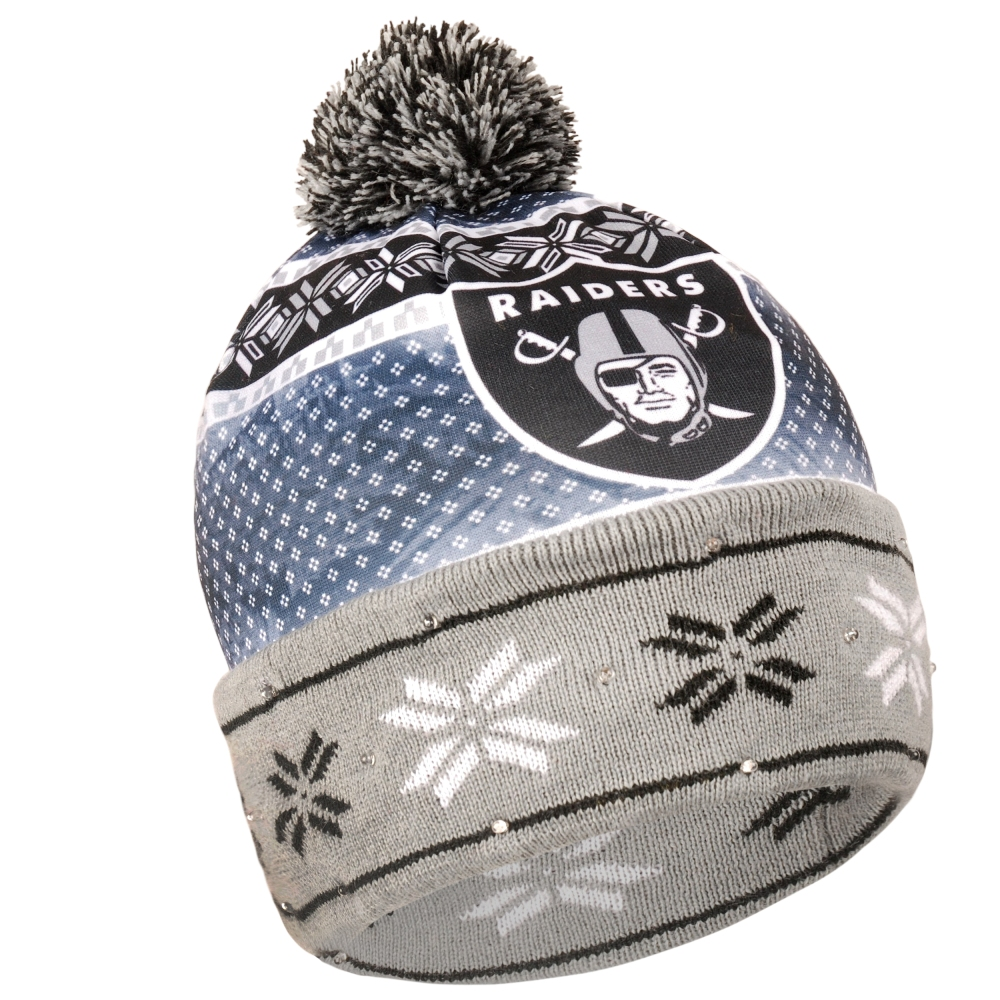 9b4d48951d5 ... italy oakland raiders nfl ugly led light up cuffed knit hat with pom  b83ed 0abc3
