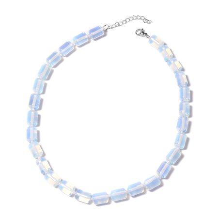 925 Silver Bead Necklace (925 Sterling Silver Opalite Beads Strand Necklace for Women Jewelry Gift 18