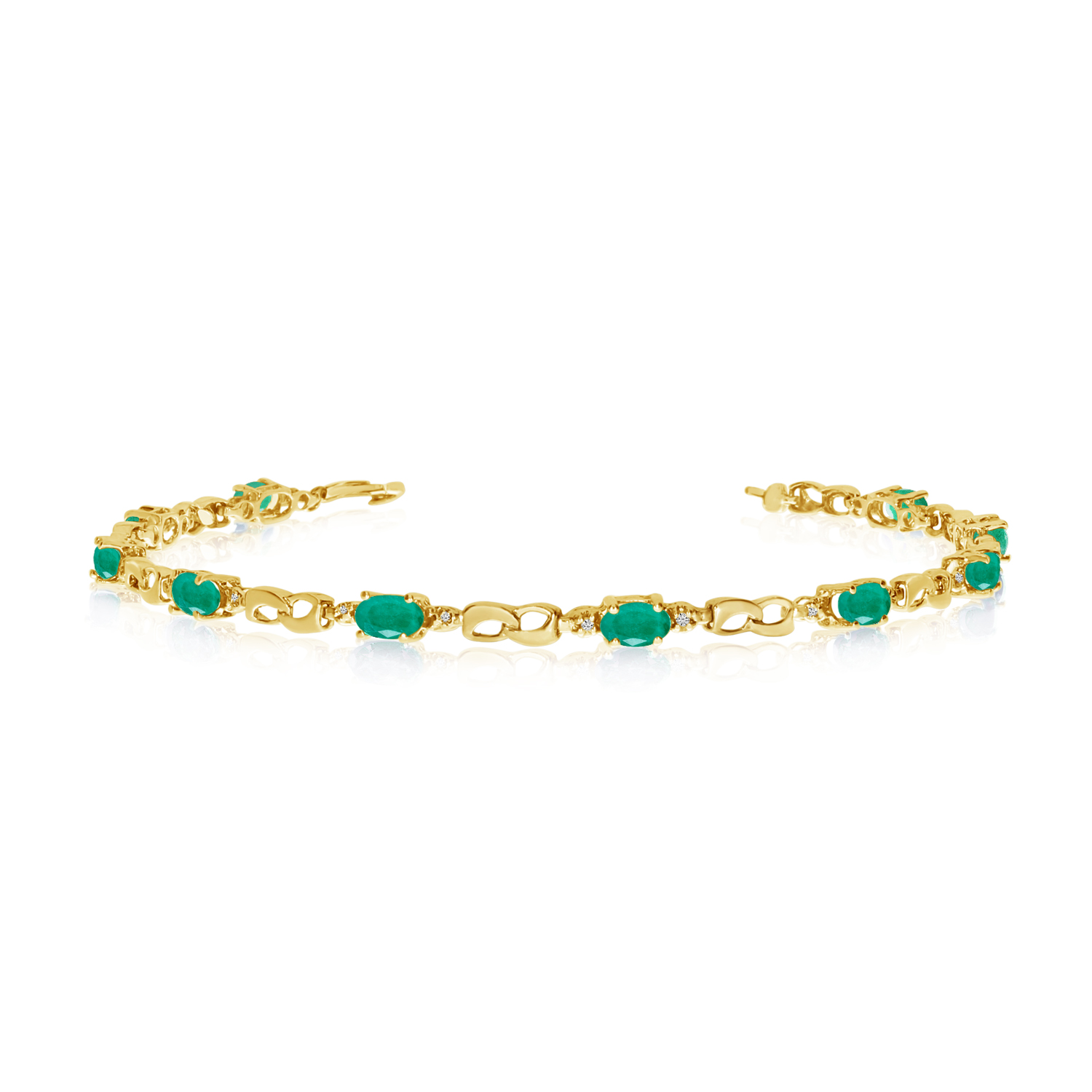 10K Yellow Gold Oval Emerald and Diamond Link Bracelet by