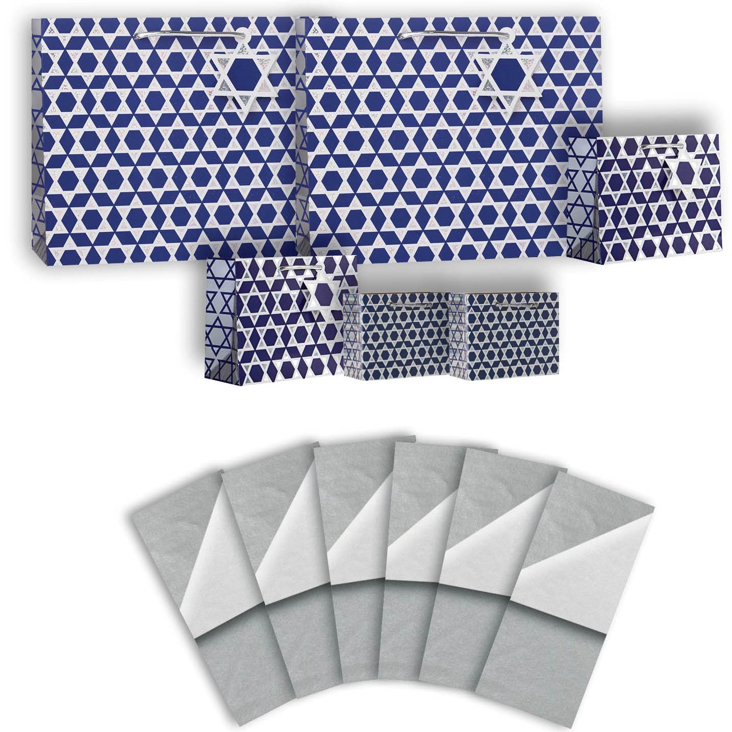Jillson & Roberts Gift Bag & Tissue Assortment, Hanukkah Shield of David (6 Bags)
