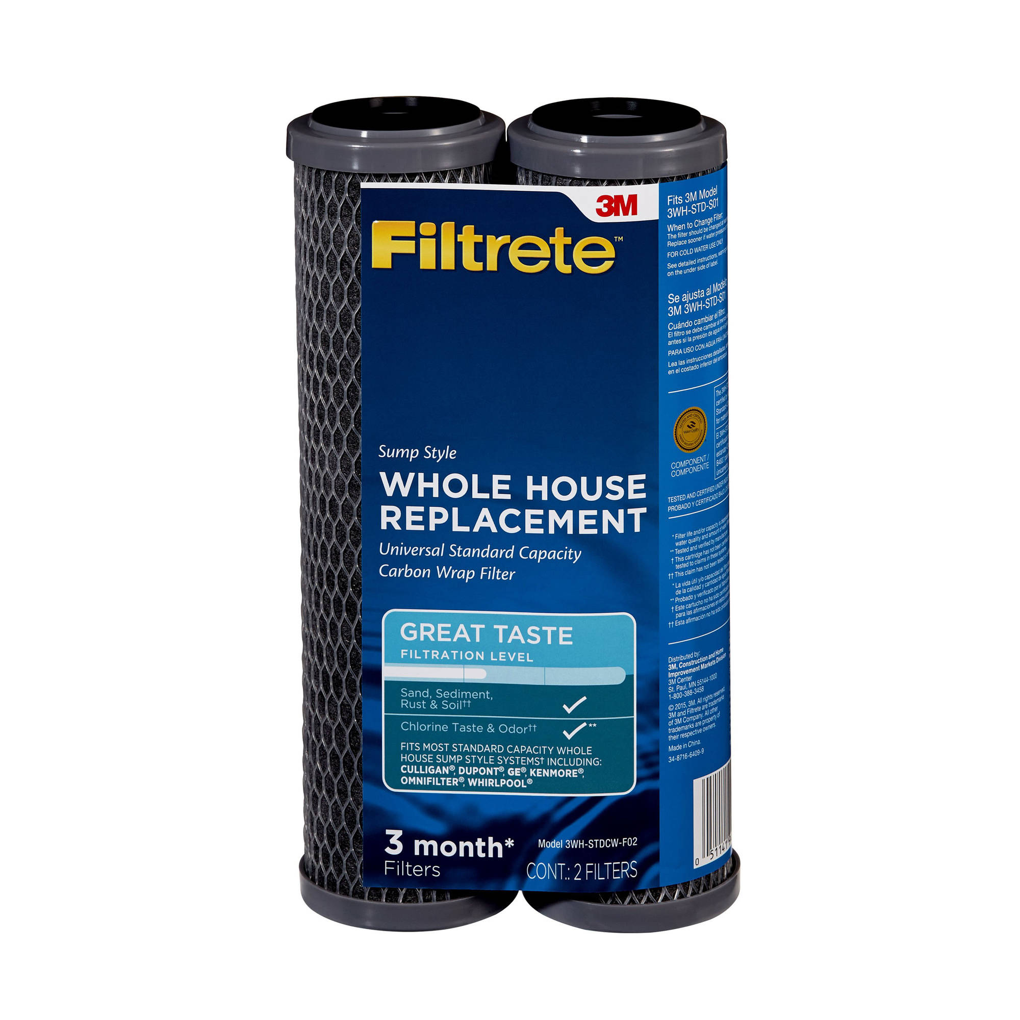 "Filtrete"" Standard Capacity, Carbon Wrap Replacement Filter, Sump Style (sediment, CTO) - 2 pack"