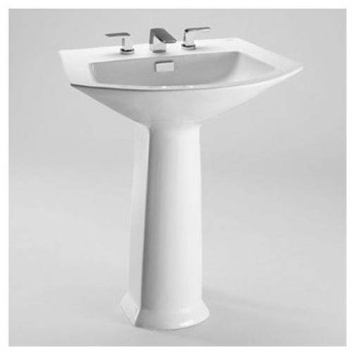 "Toto Soiree 25-1/8"" Pedestal Bathroom Sink with 3 Faucet Holes Drilled and Overflow, Pedestal Included, Available in Various Colors"