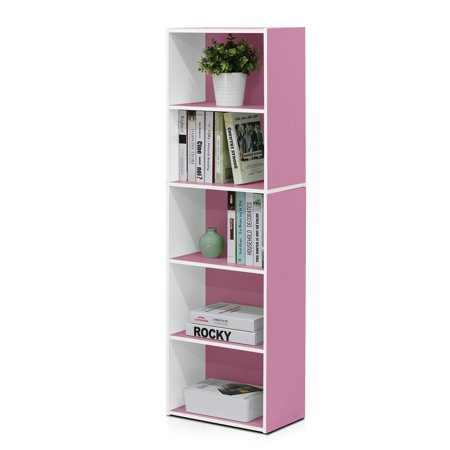 11055 5-Tier Reversible Color Open Shelf Bookcase , White/Pink