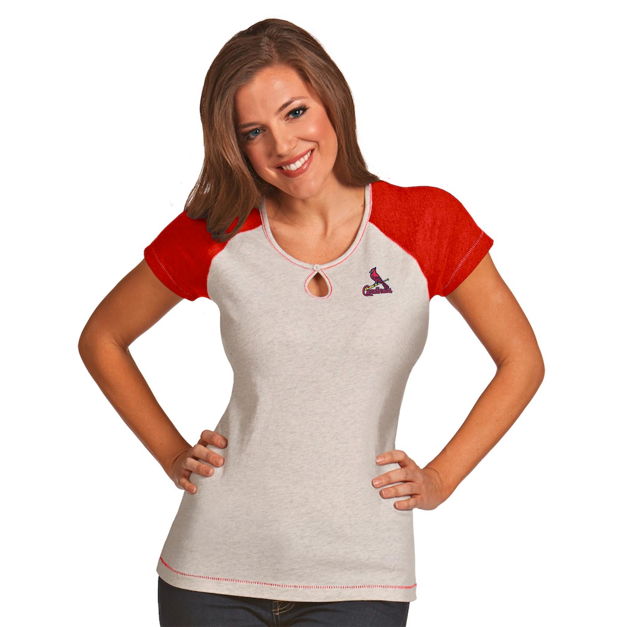 St. Louis Cardinals Antigua Women's Crush T-Shirt - White/Heather Red