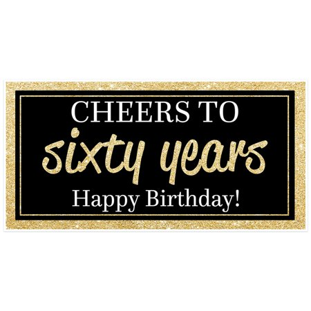 Cheers to Sixty Years Gold Birthday Banner - Cheers Banner