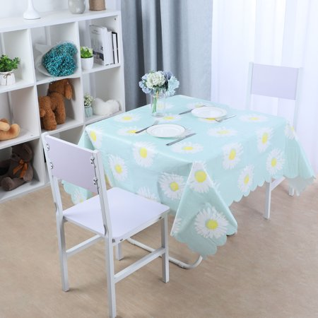 "35.4""x 35.4"" Square Disposable Tablecloths PE Table Cover Tabletop Wedding Camping Table Cloth, Blue Flower"