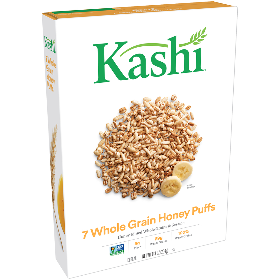 (2 Pack) Kashi 7 Whole Grain Breakfast Cereal, Honey Puffs, 9.3 Oz