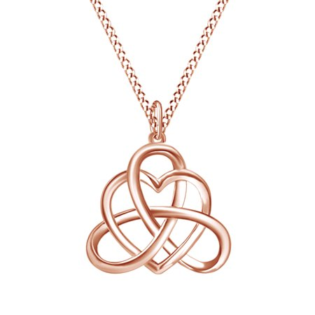 Irish Heart Celtic Vintage Pendant Necklace 14k Rose Gold Over Sterling -