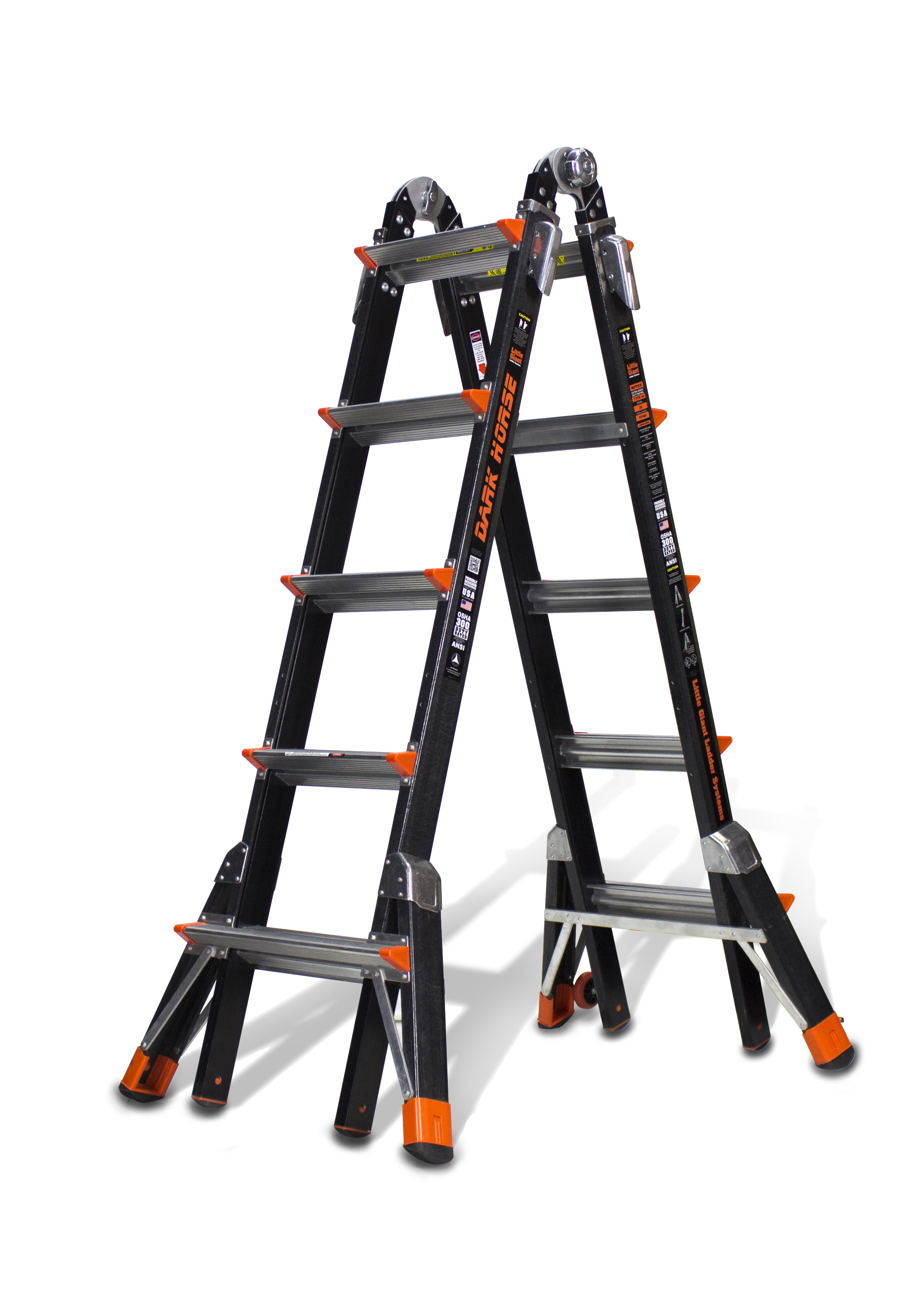 Little Giant Dark Horse, Model 22 Type IA 300 lbs rated, fiberglass articulating ladder by Wing Enterprises, Inc.