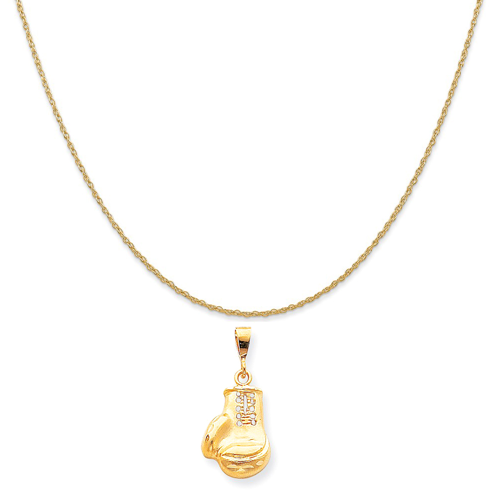 10k Yellow Gold Boxing Charm on a 14K Yellow Gold Rope Chain Necklace, 20""
