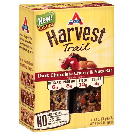 Atkins Harvest Trail Dark Chocolate Cherry   Nuts Bars 5 Pack