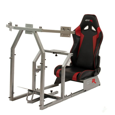 GTR Racing Simulator GTAF-S-S105LBLKRD - GTA-F Model (Silver) Triple or Single Monitor Stand with Black/Red Adjustable Leatherette Seat, Racing Simulator Cockpit gaming chair Single Monitor