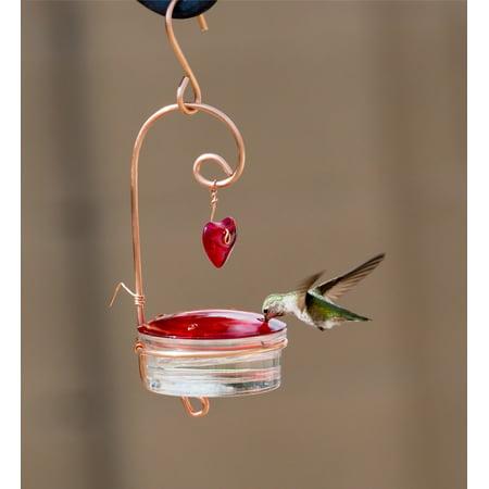 Beautiful Red Glass Hummingbird Feeder with Heart