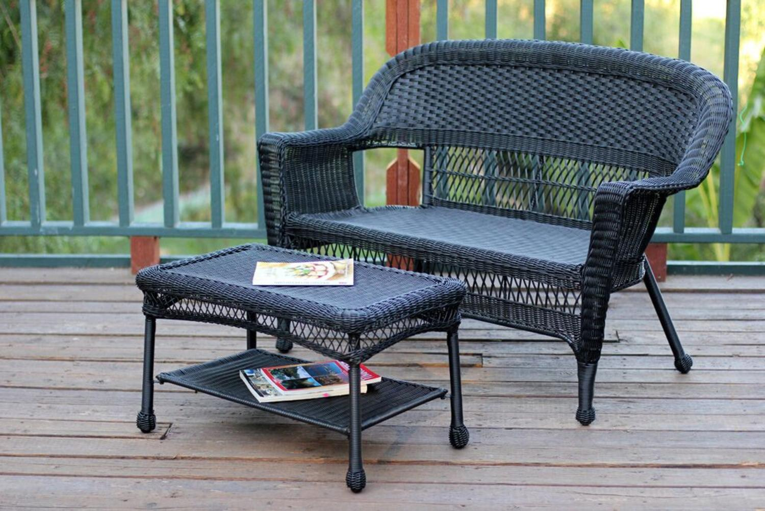 2 Piece Oswald Black Resin Wicker Patio Loveseat And Coffee Table Set