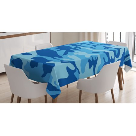 Camouflage Tablecloth, Abstract Camo Navy Military Costume Concealment from the Enemy Hiding, Rectangular Table Cover for Dining Room Kitchen, 60 X 90 Inches, Pale Blue Navy Blue, by Ambesonne