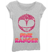 "Girls' ""Pink Ranger"" Character Head Girls' Short Puff Sleeve Graphic Tee T-Shirt"