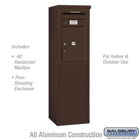 Salsbury 3907S-1PZFU 55 - 0.25 in. 7 Door High Unit Single Column Stand Alone Parcel Locker 1 PL5 with Outgoing Mail Compartment Front Loading Free Standing 4C Horizontal Mailbox Unit, - Outgoing Mail