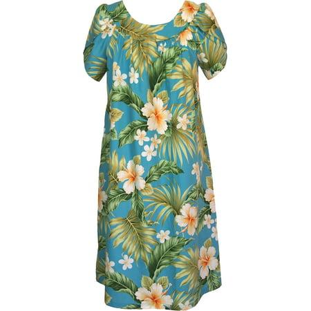 RJC Women's Hibiscus Plumeria Fern Muumuu Dress, Blue, L ()