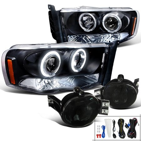 Spec-D Tuning 2002-2005 Dodge Ram 1500 Halo Led Projector Headlights Black + Smoke Fog Lights Lamps (Left + Right) 02 03 04 05